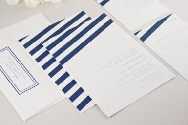 wind sail navy blue and white wedding invitations