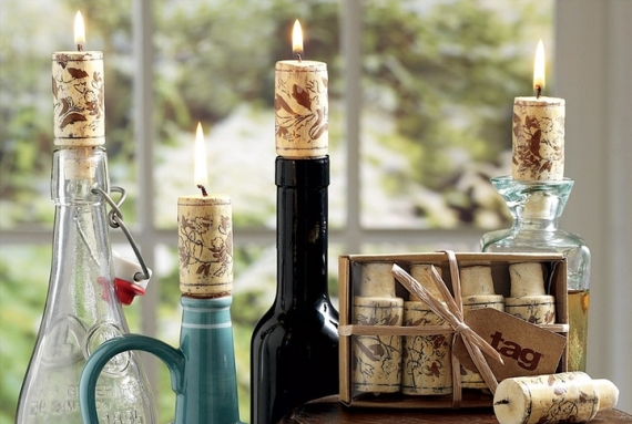 wine cork candles via DIY Wine Bottle Candles