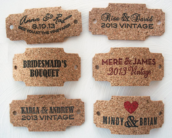 cork wrap for bouquet - wine themed wedding ideas