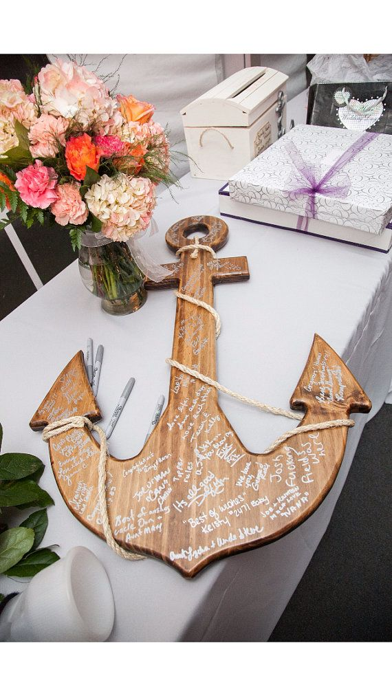 wood anchor guest book | via decorate for beach wedding ideas from emmalinebride.com
