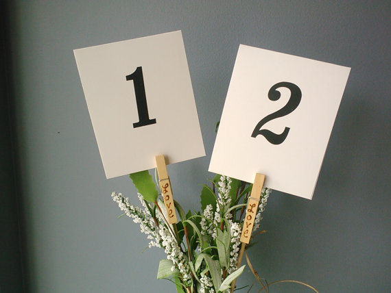 7 Unique Table Number Holders - mini clothespin clip by knotty notions