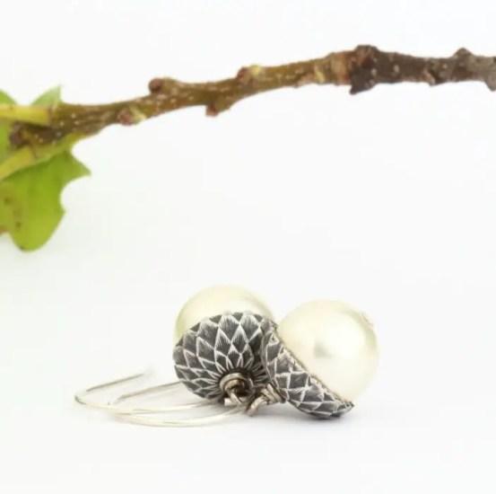 woodland acorn pearl earrings