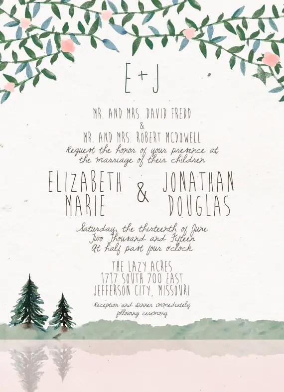 Pine tree wedding invitations   by Splash of Silver   http://emmalinebride.com/planning/pine-tree-wedding-invitations/