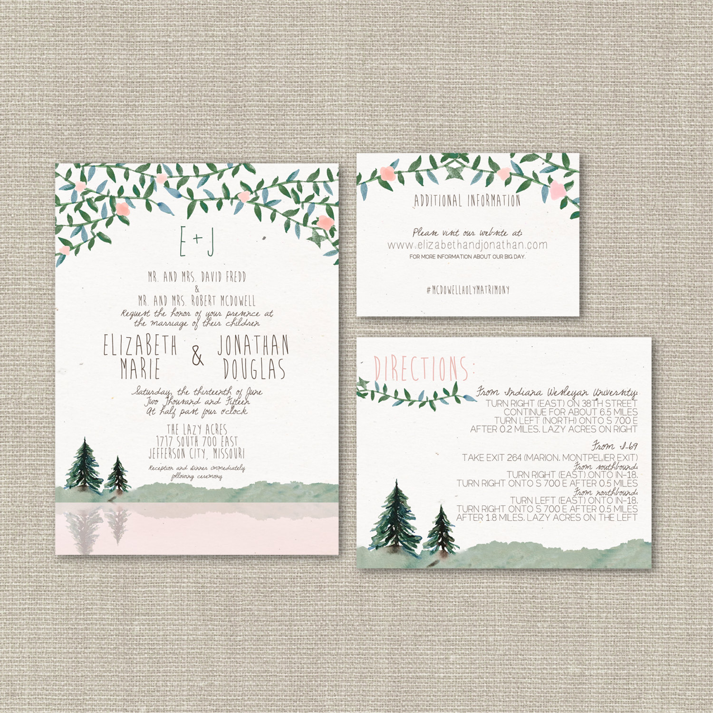 Pine Tree Wedding Invitations for Woodland Weddings