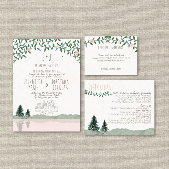 Pine tree wedding invitations | by Splash of Silver