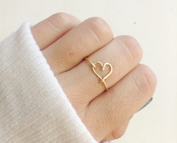 tiny gold heart ring by bare and me | via emmalinebride.com | valentine jewelry etsy