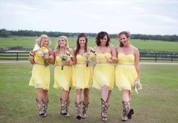 yellow bridesmaid dresses cowboy boots - via 3 Cute Cheap Wedding Cowboy Boots