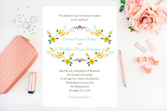 yellow floral wedding invitations