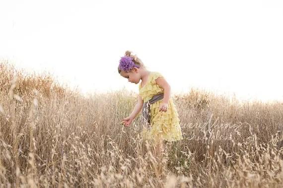 yellow ruffly flower girl dresses
