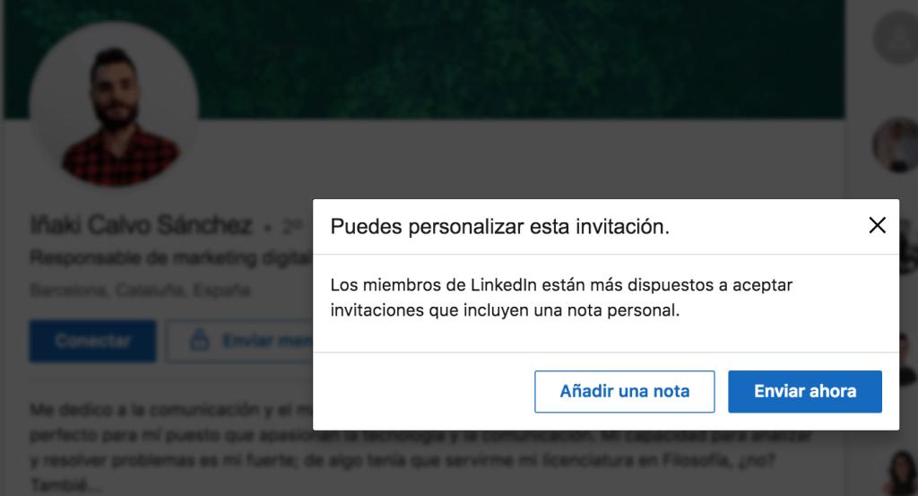 LinkedIn enviar mensaje personalizado