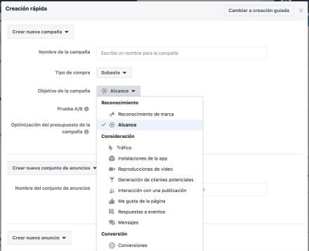 Campaña Facebook objetivos