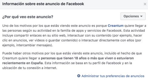 Por qué vemos anuncio en Facebook
