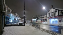 Pudsey Town Centre in the snow