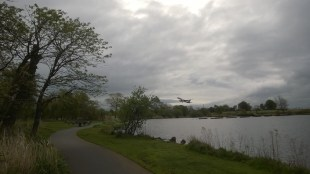 Plane taking off at Yeadon Tarn