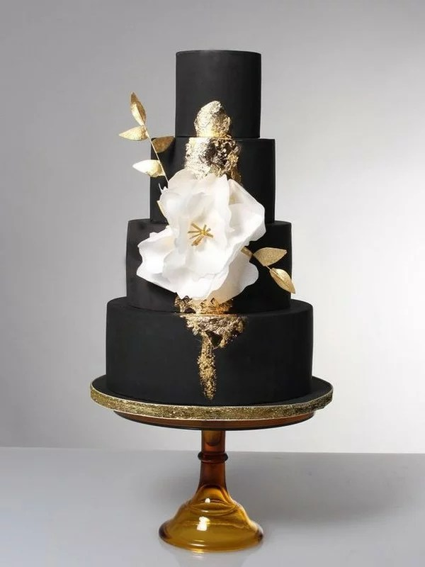 10 Brilliant Matter Black Wedding Cake Ideas for 2018 Trends     black and gold wedding cake with fantasy flower