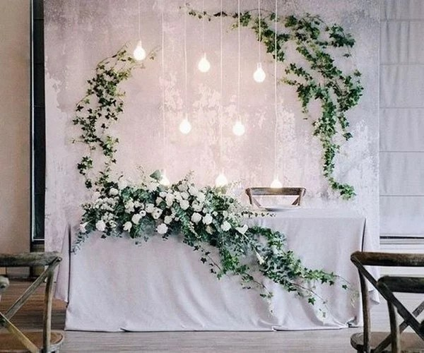 Industrial Greenery Wedding Head Table Backdrop Ideas