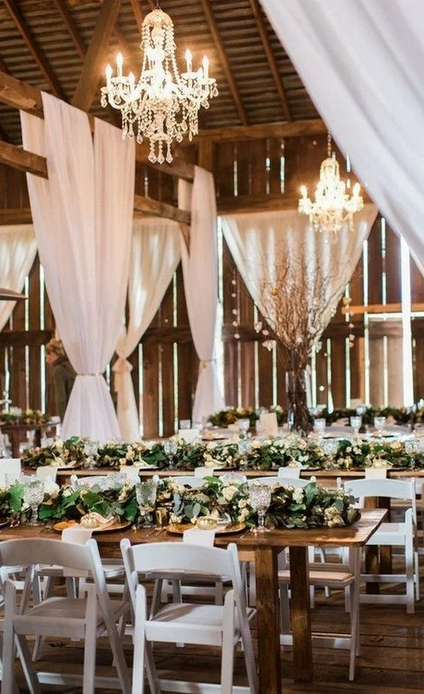 18 Country Barn Wedding Reception Ideas With White Draping Emmalovesweddings
