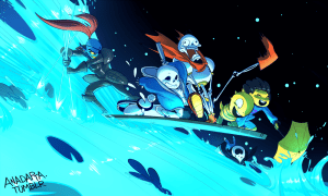 A team of Undertale monsters surf across water. One is a panicked, screaming skeleton, while a larger skeleton, a monster boy, and the human main character have fun. A mermaid monster is at the back controlling the craft.