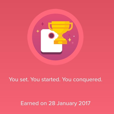 A Fitbit image showing that a weight goal was achieved on 28th January. The weight is not shown.