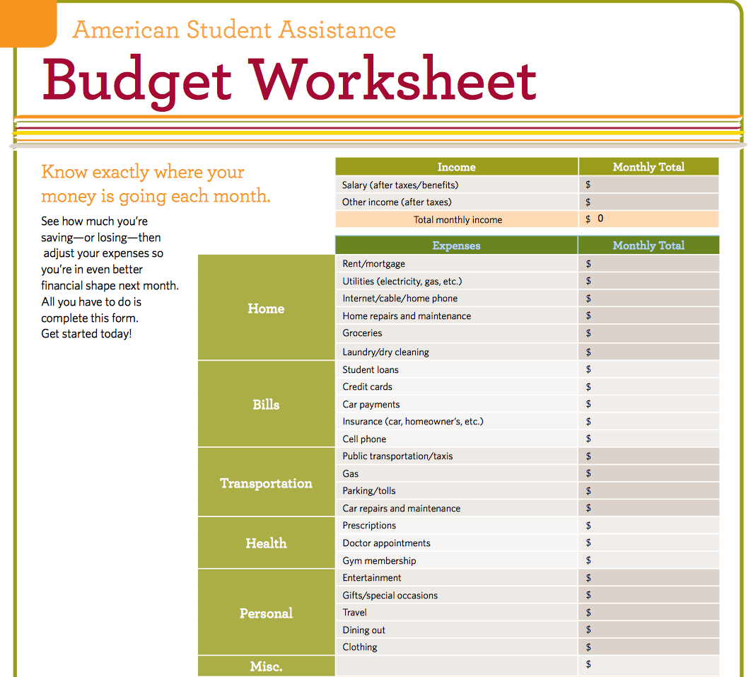 Budget Worksheet For Students Emmamcintyrephotography