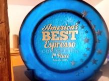 """Copper Horse Coffee's award for """"America's best espresso."""""""