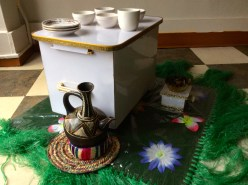 This small table is used for Ethiopian coffee drinking ceremonies.