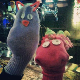 making puppets on arts and crafts night at le bull, with a new friend, victoria laberge of bloodyunderrated.