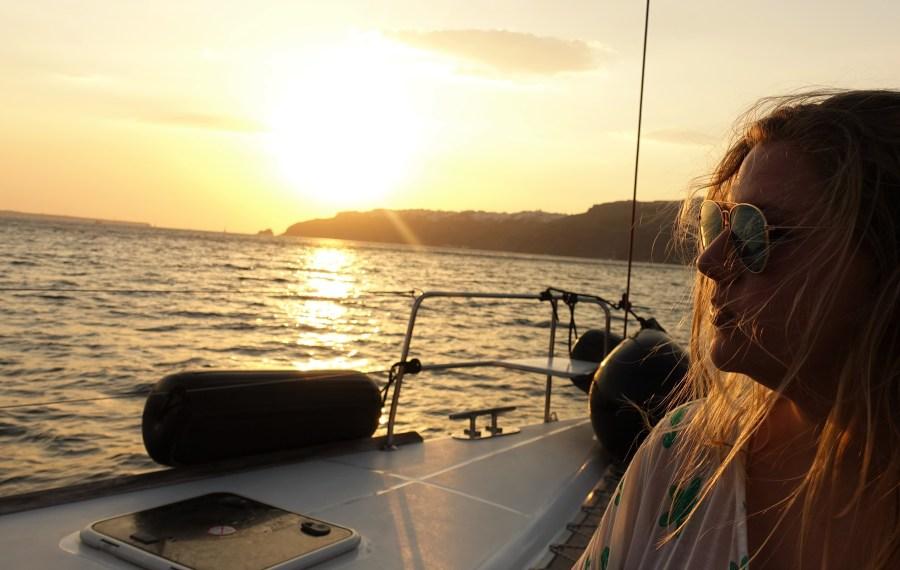 Santorini Greece Sunset cruise volcano swimming