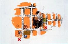 Au Yer'mad, dans le livre d'artiste Itinéraires, sérigraphie sur papier japonais, chine collé, 30 cm X 21 cm, 2004