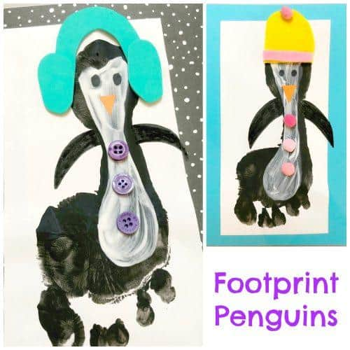 Footprint Penguin Christmas Craft Idea For Kids Emma Owl