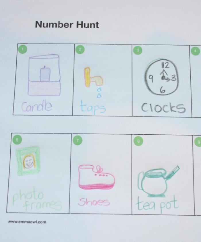Number hunt. A counting based treasure hunt.