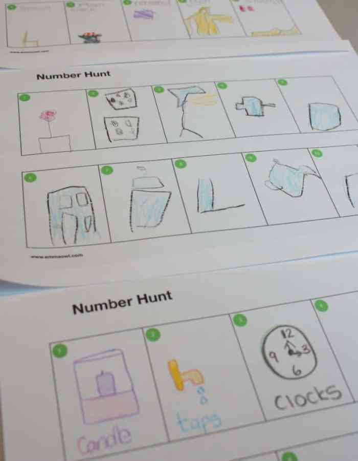 Number Hunt, a counting activity treasure hunt with free printable template