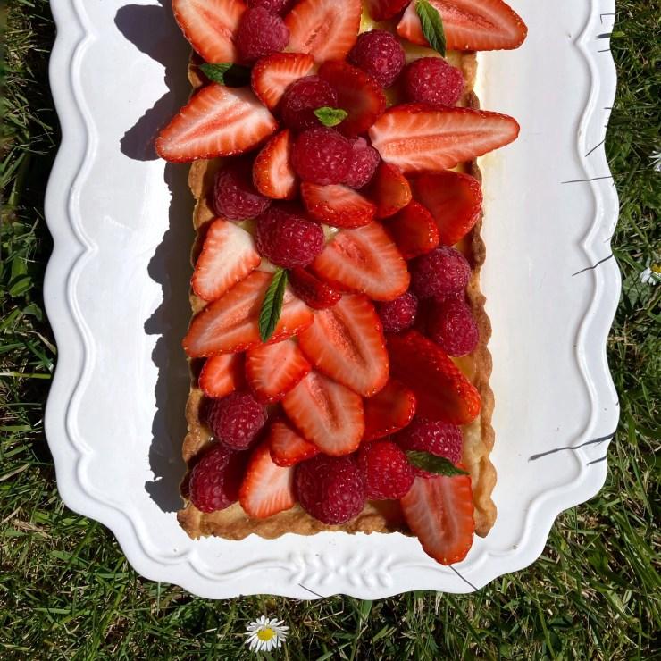 Recette de la tarte citron fraise framboise