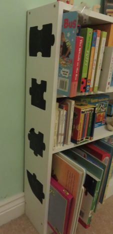 bookcase with stick on chalkboard paper