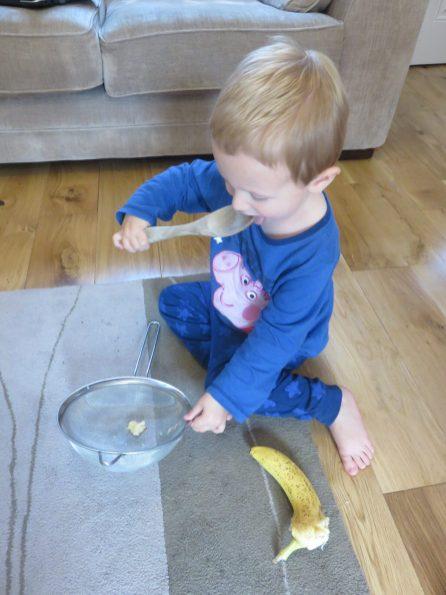Jake eating the mixed up banana