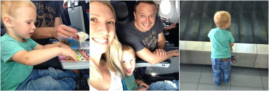 collage of family on a plane flying to Zante