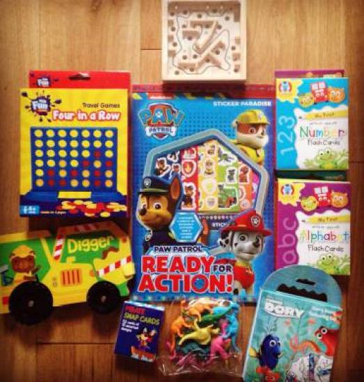 selection of kids toys, games and magazines