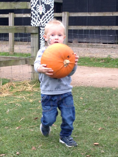 boy holding large pumpkin
