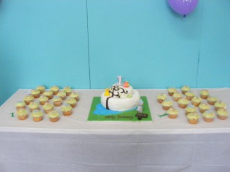 Jake's first birthday cake and cupcakes