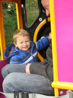 Jake on a train at peppa pig world