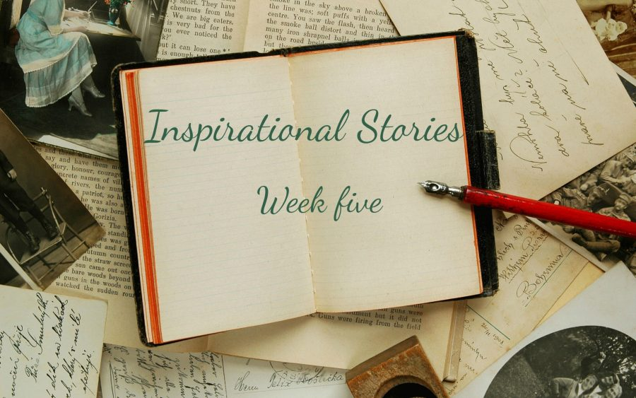 inspirational stories week five written across a book
