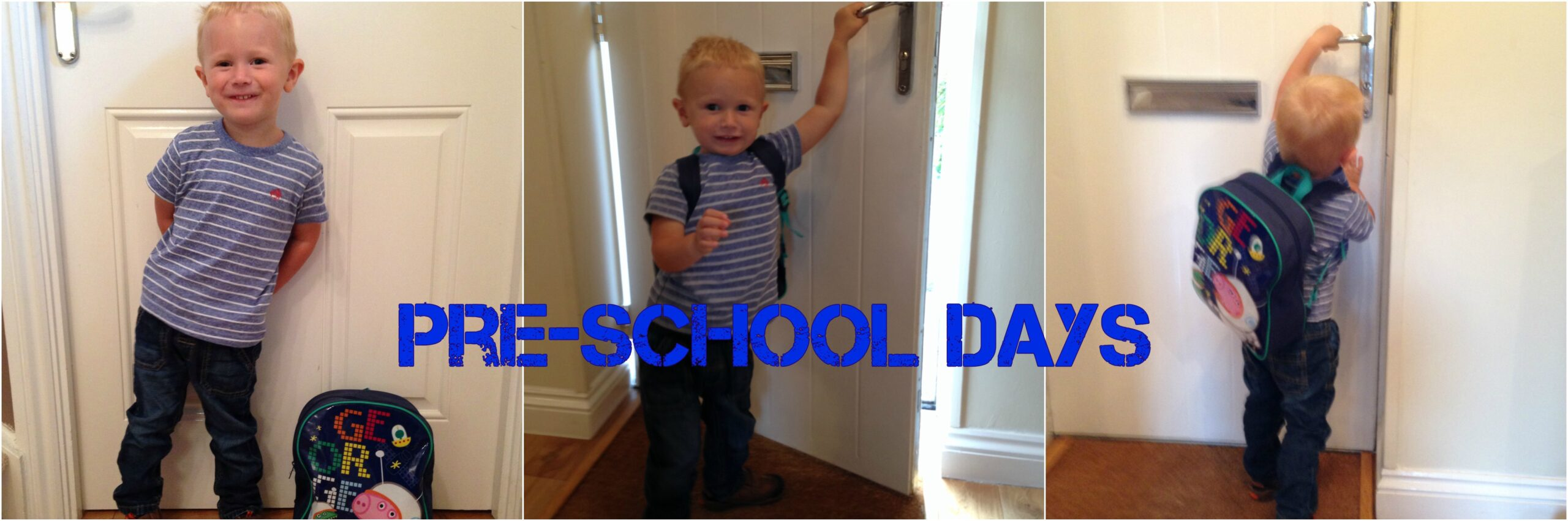 pre school days across 3 pictures of boy by door