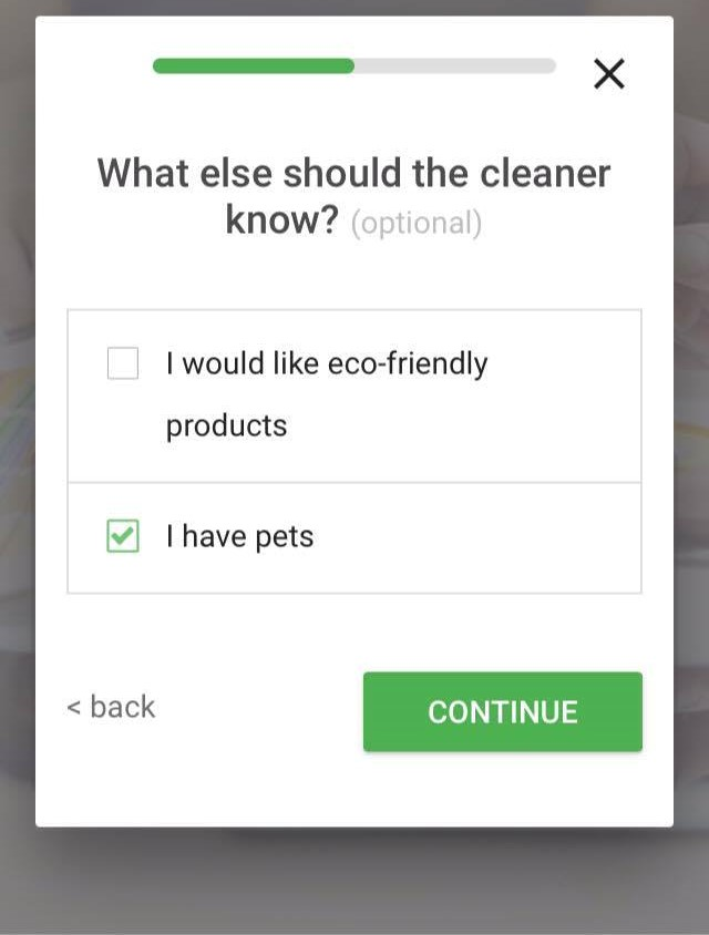 screenshot of a cleaner requirements