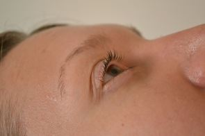 side view of lashes finished