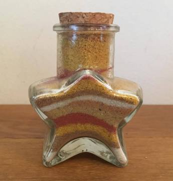 star glass pot of sand