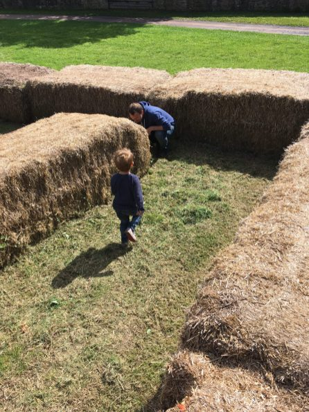 Jake and Rob in a straw maze