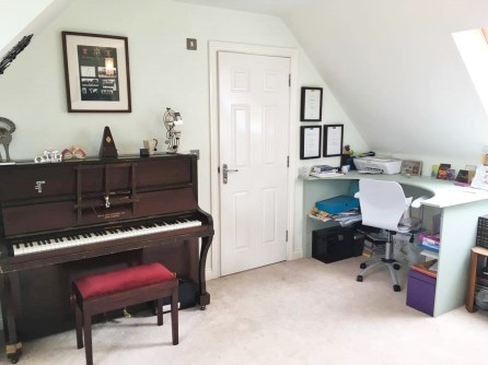 piano and office area in spare room