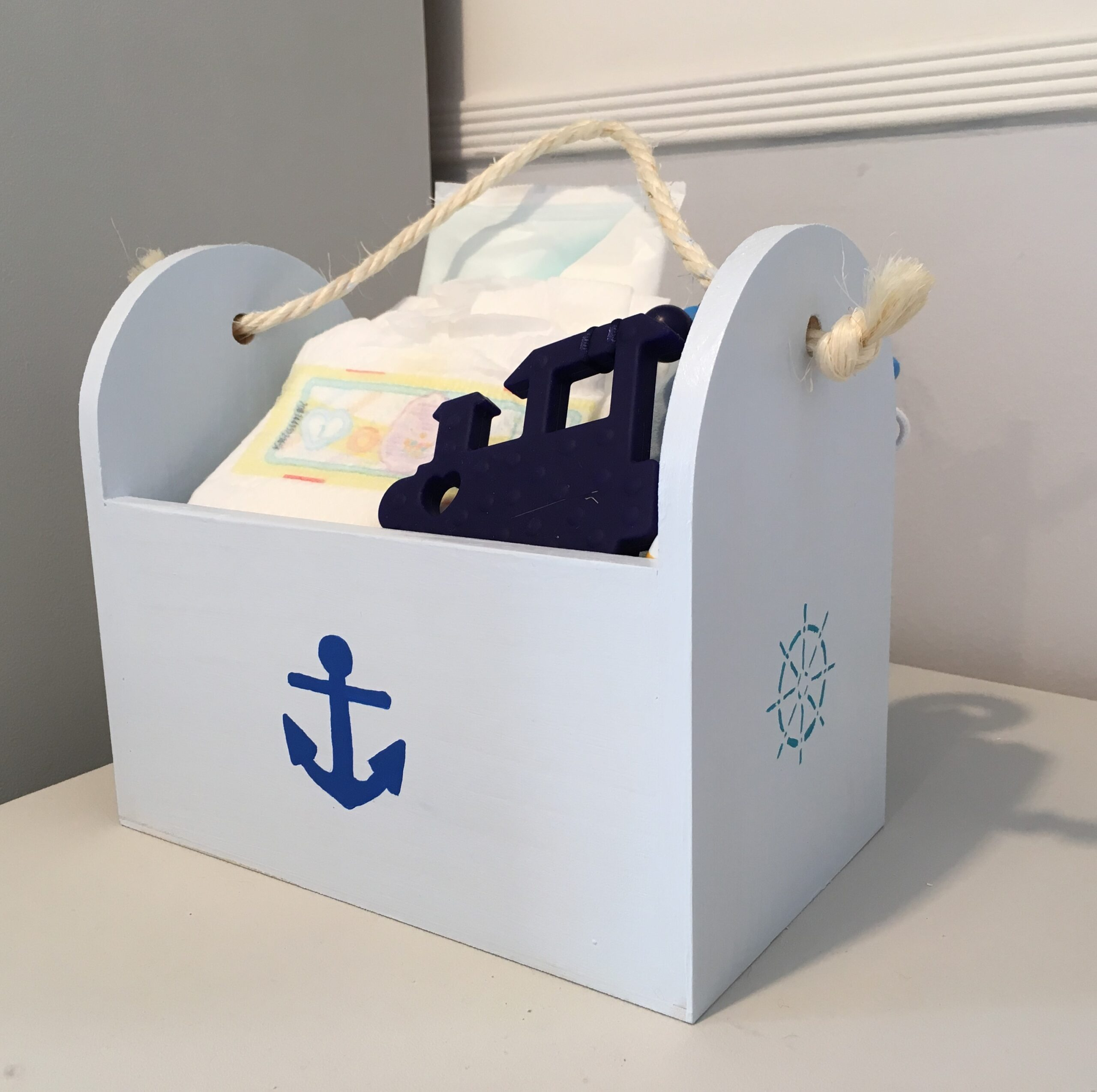 nautical themed wooden box