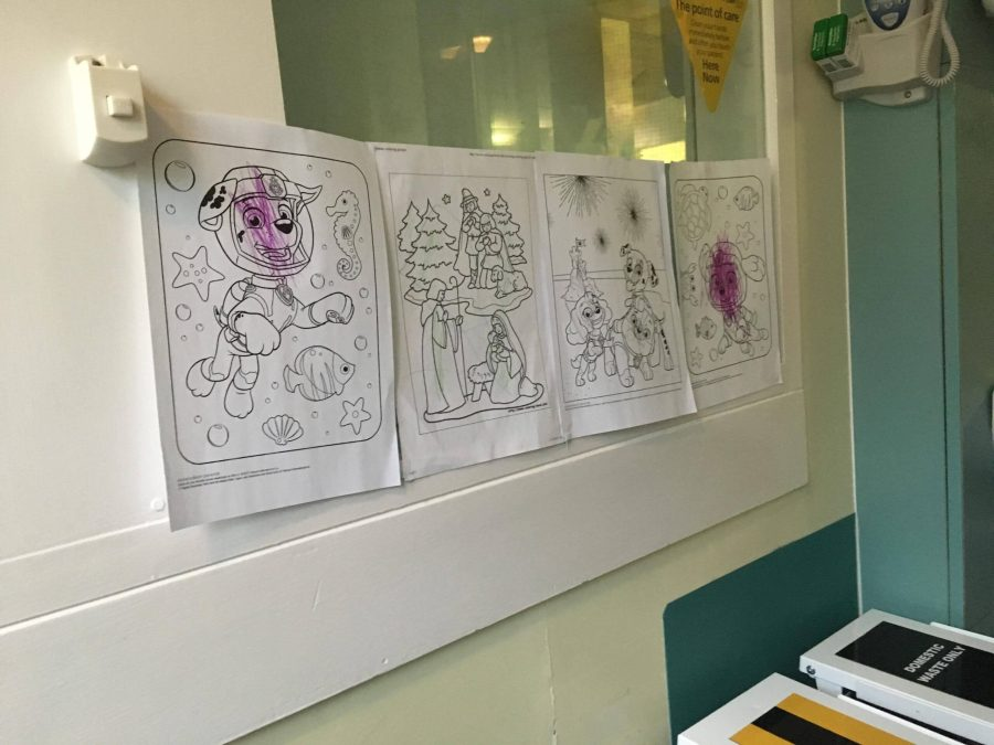 pictures coloured in by Jake on the wall of the NICU cubicle