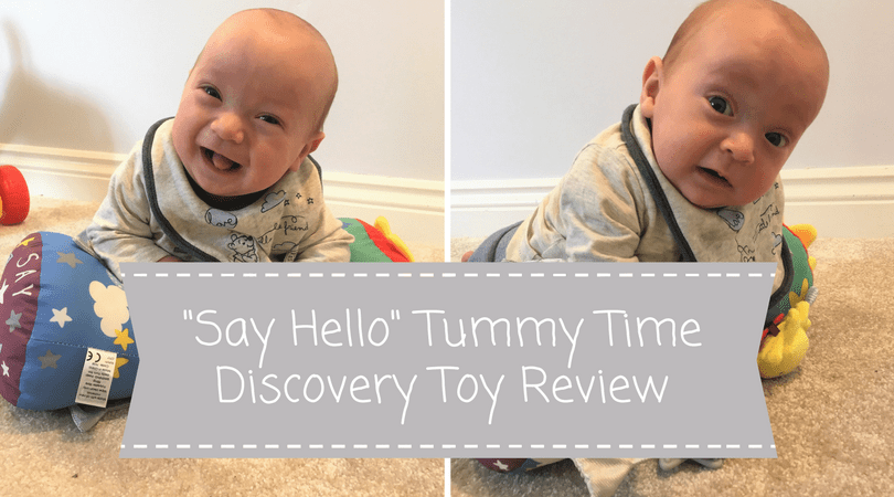 say hello tummy time discovery toy review, 2 pictures of a baby on the toy
